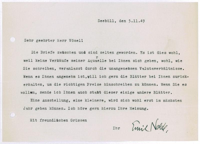 Briefe Schreiben Englisch übersetzen : Nolde emil